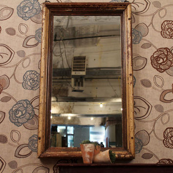 Antique Wood Frame Distressed Mirror by hammerandhandimports