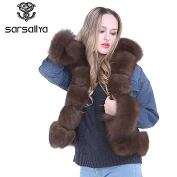 SARSALLYA new fashion real fox fur denim jacket women's Fox Fur coat parka Rex Rabbit Fur lining winter jacket top quality