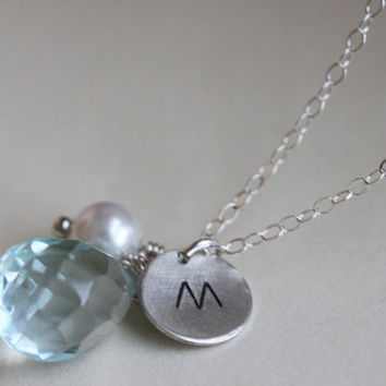 Hand Stamped Necklace - Aquamarine Necklace - Initial Necklace - March Birthstone - Sterling Silver - Bridal Jewelry