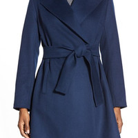 'Violet' Wool Blend Wrap Coat (Regular & Petite)