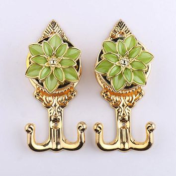 Newly 1 Pair Elegant Flower Curtain Hook Metal Wall Hangers Curtain Tieback Door Window Curtain Accessories