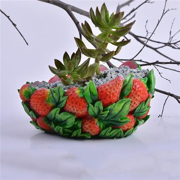 1 pcs Creative mini Strawberry shape succulents flower pot resin container Pots Planters Bonsai Garden Decoration