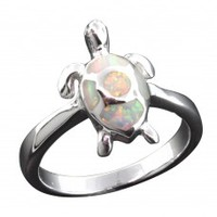 White Opal Turtle Ring