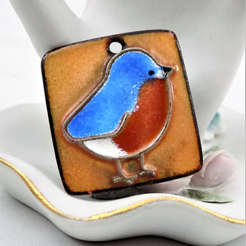 Blue Bird Pendant, Enamel on Copper, Signed by Artist, Hand Crafted, Vintage Jewelry Pendant