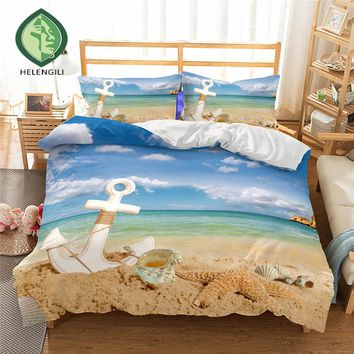 HELENGILI 3D Bedding Set Ship's anchor Print Duvet cover set lifelike bedclothes with pillowcase bed set home Textiles #2-07