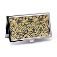 Art Deco Business Card Case in Gold and Black