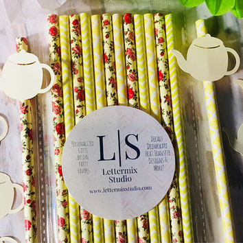 Yellow Paper Straws, Yellow and red floral paper straws, Tea party, Birthday Party Straws, Cake Pop sticks
