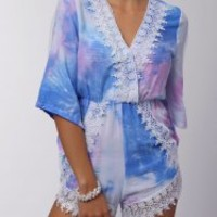 Stylish Plunging Neck 3/4 Sleeve Printed Lace Embellished Romper For Women