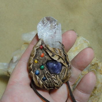 Danburite Crystal Amethyst Chakra Pendant Chakra Gemstone necklace Healing Energy Sam Art Clay Jewelry