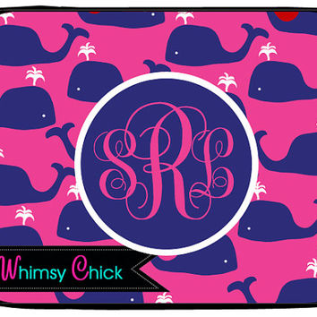 Monogrammed Laptop Case, Pink Preppy Whale Macbook, iPad Sleeve