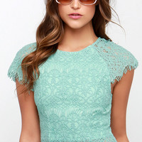 Feelin' Fancy Mint Green Lace Crop Top