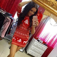 Fall Dresses  Fashion Women Casual Christmas Deer Printed Floral Mini Dress Autumn Three Quarter O-neck Sexy Party Dress