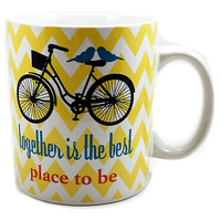 Together Best Place to Be Coffee Mug Yellow Chevron Cup Bird 13oz Clay Art k518