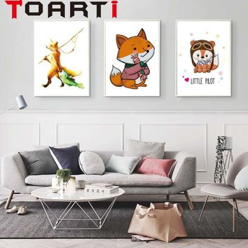 cute Fox  Animal Nursery Posters and Prints Wall Art Canvas Painting Decorative Picture Nordic Style Kids Decoration
