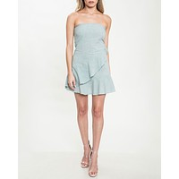 strapless ruffle hem dress - sage blue
