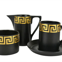 6 Person Black and Gold Portmeirion Coffee Set Vintage English 1960s