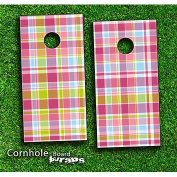 Colorful Plaid Pattern Skin-set for a pair of Cornhole Boards