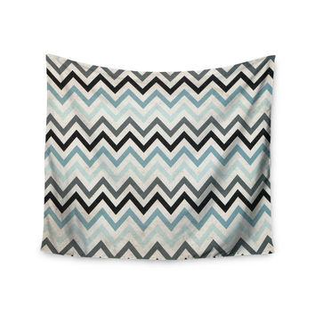 "Heidi Jennings ""Blue Chevron"" Gray Aqua Wall Tapestry"