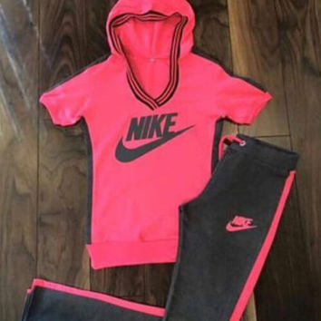 """""""NIKE"""" Fashion Casual Letter Print V-Neck Hooded  Set Two-Piece Sportswear"""