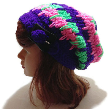 Crochet Geometric Neon Beanie Hat with Buckle Tab in Pink Green Purple