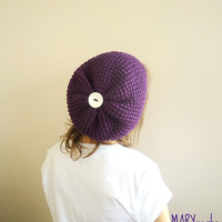 Hand Knit Winter Hat PURPLE  SLOUCHY Beanie  Double face Fall Fashion
