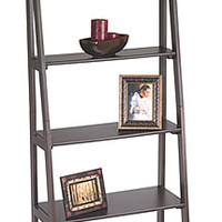 Espresso Finish Wood Ladder Style Book Case Shelf Bookshelves Display Stand