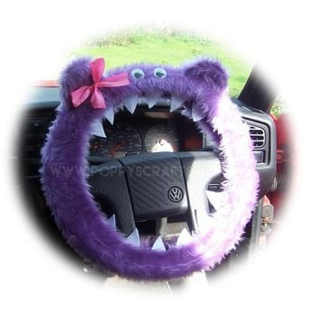 Fuzzy Faux fur Lilac Monster steering wheel cover with cute pink bow
