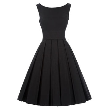 Women Dress Sexy PinUp Vestidos Rockabilly Hepburn O-Neck Sleeveless Tunic Summer Dress Black Retro Casual 50s Vintage Dresses
