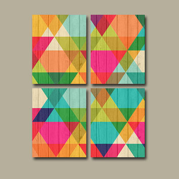 Geometric CANVAS or Prints Wall Art Colorful Office Decor Diamond Pattern Wood Effect Background Bright Bedroom Wall Art Set of 4