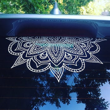 Half Mandala Window Decals car decals wall decal vinyl decal mandala sticker boho om zen hippy yoga henna indian decal flower decal