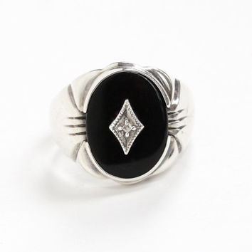Vintage Sterling Silver Black Onyx & Diamond Ring - Size 9 Statement Men's Oval Black Chalcedony Gem Jewelry Hallmarked JED