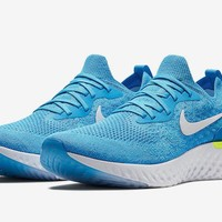 "Nike Epic React Flyknit Racer ""volt glow"" pack white/blue/sprite Mens Sizes"