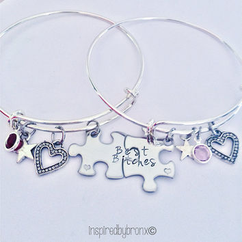Adjustable charm puzzle bracelet for best friends. Matching BFF bracelets, best bitches, with birthstones