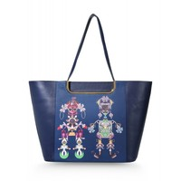 Mary Katrantzou Navy Marinela Tote - Leather Tote - ShopBAZAAR
