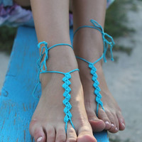 Crochet Barefoot Sandals,  Foot jewelry, Yoga , Bellydance, Steampunk, Beach Pool Party, jewelry for the foot, in turquoise