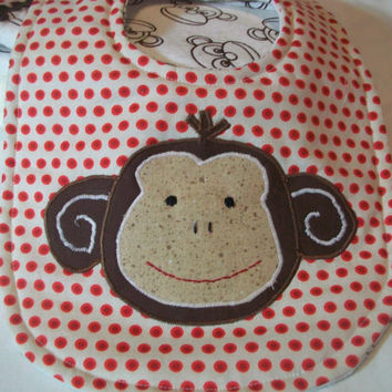 Baby Bib and Burp cloths Set - Sock Monkey Bib - Baby Bib Gift Set -Minky Burp Cloths
