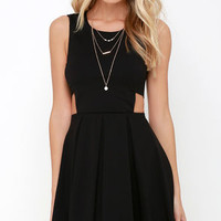 Turn Up the Pleat Black Skater Dress