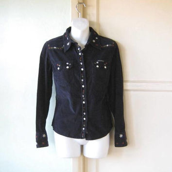 Dark Navy Corduroy Western Style Shirt; Women's Small Navy Blue Retro Cowgirl/Cowboy Shirt; U.S. Shipping Included