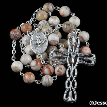Anglican Rosary Beads Brown Tan Brazilian Jasper Natural Stone Prayer Beads Silver Christian Episcopal Rosary