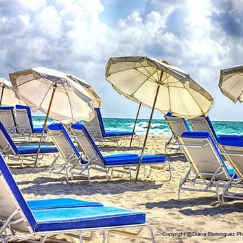 "Beach Photography - Beach  Wall Decor - Miami Beach Photography - ""Blue Beach Chairs"" - Cottage Decor, Shabby Chic"