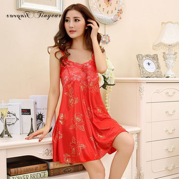 Tinyear women summer lace nightgowns sexy sleepshirts sleeveless lash neck floral pattern nuisette femme with bow design