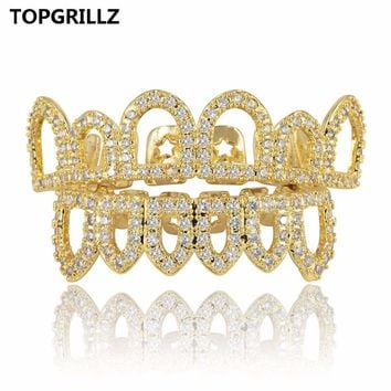 TOPGRILLZ Hip Hop Gold Color Plated Hollow Out Grillz Top &Bottom Teeth CZ Stone Micro Pave Exclusive Luxuries Set Ship From US