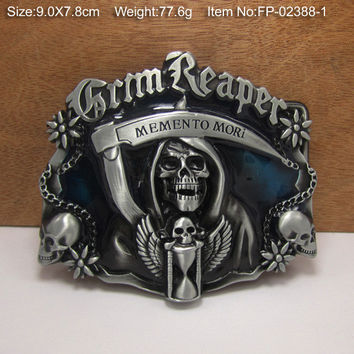 Grim Reaper Skull Cowgirls CowboysMetal Belt Buckle Texas Fashion Mens Western Badge Feathers Native Avengers