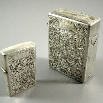 Sterling Silver Cigarette Case & Lighter Cover // Chased 950 Silver from UBlinkItsGone