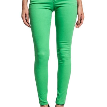 Basic 5-Pocket Mid-Rise Skinnies (Green)