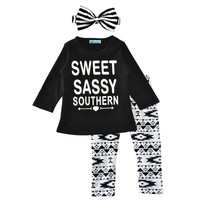 Baby girl clothing set letter autumn 2017 little girl clothes set stripe Headband+t shirt+pant kids clothing set for baby girls