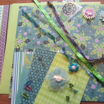 Scrapbook Kit,Lime, Teal and Purple Embellishments