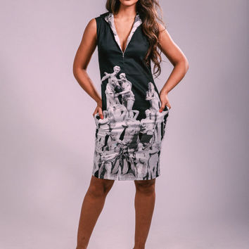 Black dress,  summer dress,greek gods print dress, work dress, party dress, classy dress, shift dress,