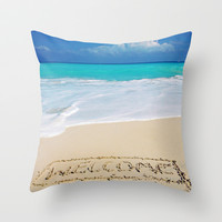 Welcome Home Beach Bum Throw Pillow by Goldfish Kiss