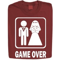 Stabilitees Funny Marriage Wedding, Bride / Groom Game Over Mens T Shirts